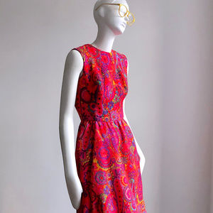 Vintage 1960s Mod Wool Dress sz XS S Betty Draper